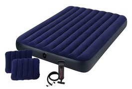 64765 Надувной матрас Classic Downy Airbed Fiber-Tech, 152х203х25см с подушками и насосом