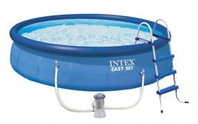 28166 Бассейн Easy Set, 457х107см, 12430л, фильтр-насос 3785л/ч, лестница, тент, подстилка