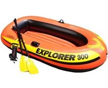 58332 Надувная лодка Explorer 300 Set 211х117х41см с пластик. веслами и насосом, от 6лет