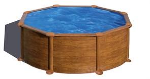Сборный бассейн GRE Pacific круглый, ? 350 x 120 см, 10,10 м3, со скиммером и форсункой, плёнка 0,3 мм (отделка под дерево)