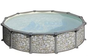 Бассейн круглый GRE (3,5x1,32) имитация камня, комплект с форсункой и скиммером /PR358P